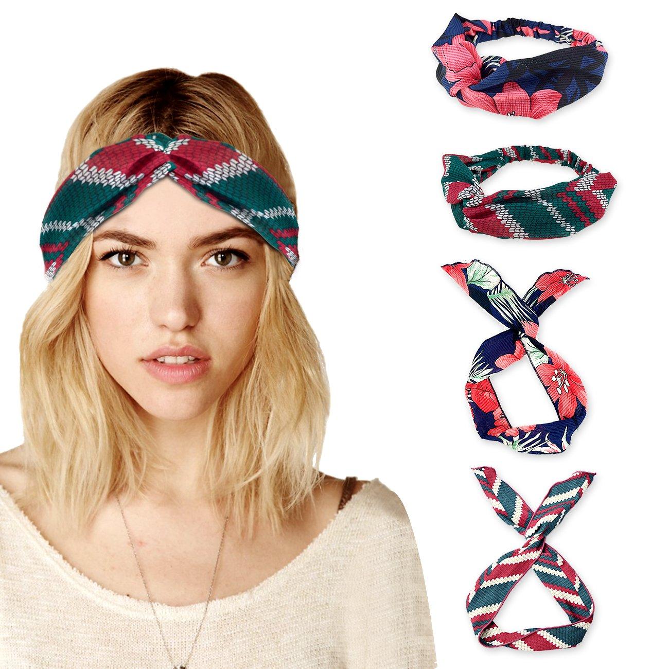 DRESHOW Bow Knotted Flower Headband Boho Floral Hair Band Facial Head Wrap Terry Cloth Yoga Sport Shower Headband Pack 6/8 HB0034-1