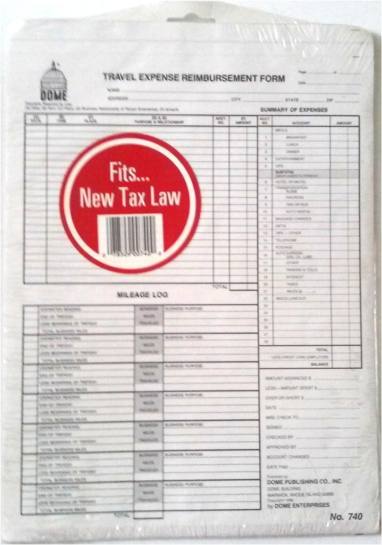 Amazon Com Dome 740 Travel Expense Reimbursement Form 8 1 4 X 11 Office Products