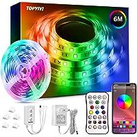 Bluetooth LED-strips, TOPYIYI 6M Veelkleurig RGB LED Lights Strip, Ledstrip met APP-besturing en IR-afstandsbediening…