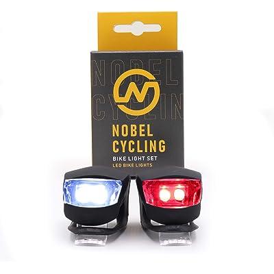 Juego de luces para bicicleta, traseras y delanteras, impermeables y respetuosas con el medio ambiente, armazón de silicona de color negro, fáciles de instalar, incluye pilas