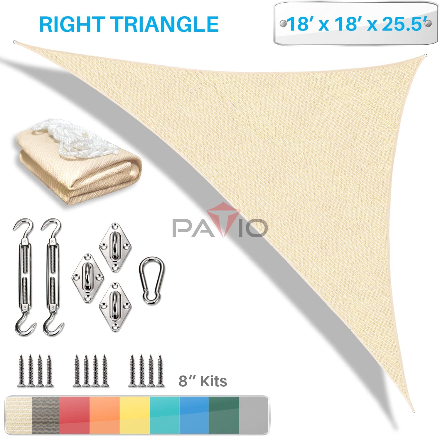 Toldo con Kit de Hardware, derecho triángulo: Amazon.es: Jardín