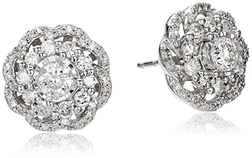 10k White Gold Diamond Flower Earrings (1cttw, I-J Color, I2-I3 Clarity)