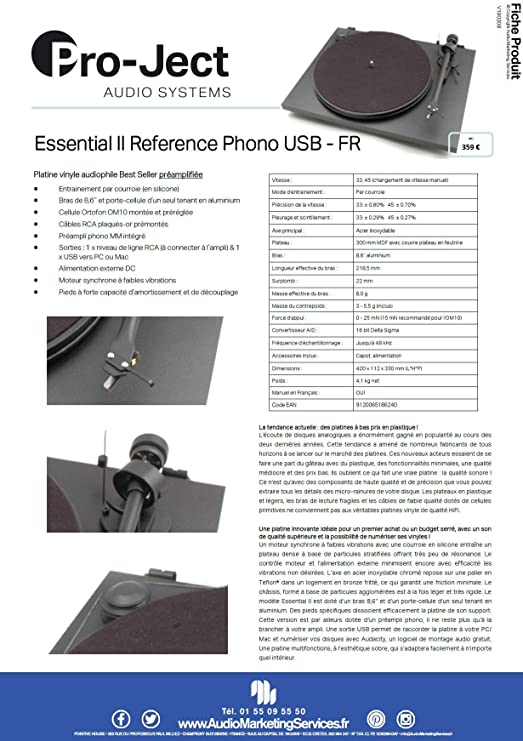 Tocadiscos phono Pro-Ject Essential II Referencia USB OM10 FR ...