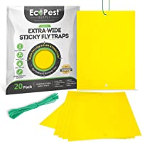 Yellow Sticky Traps – 20 Pack (Extra-Wide) | Yellow Fly Paper Trap and Gnat Sticky Traps for Fruit Flies, Fungus Gnat…