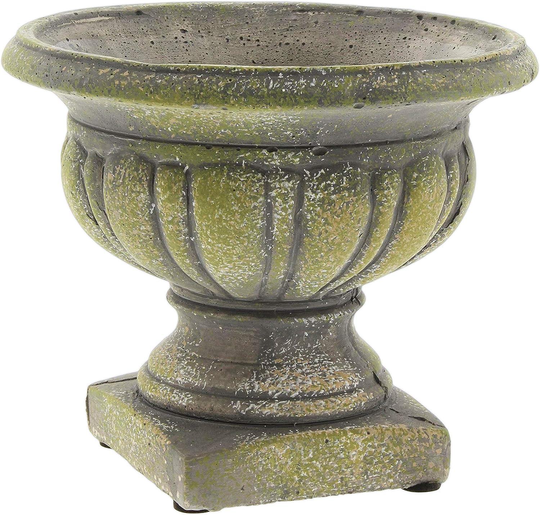 Lucky Winner Distressed Cement Urn Garden Planter Statue, 5