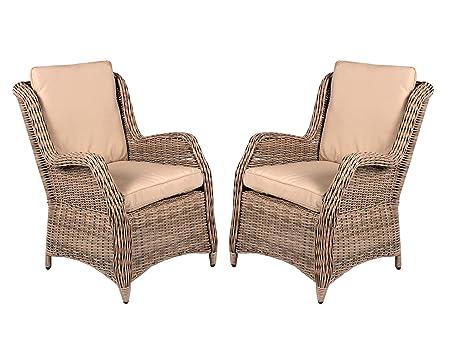 Amazon De 2er Set Polyrattan Sessel Beige Grau Inkl Kissen