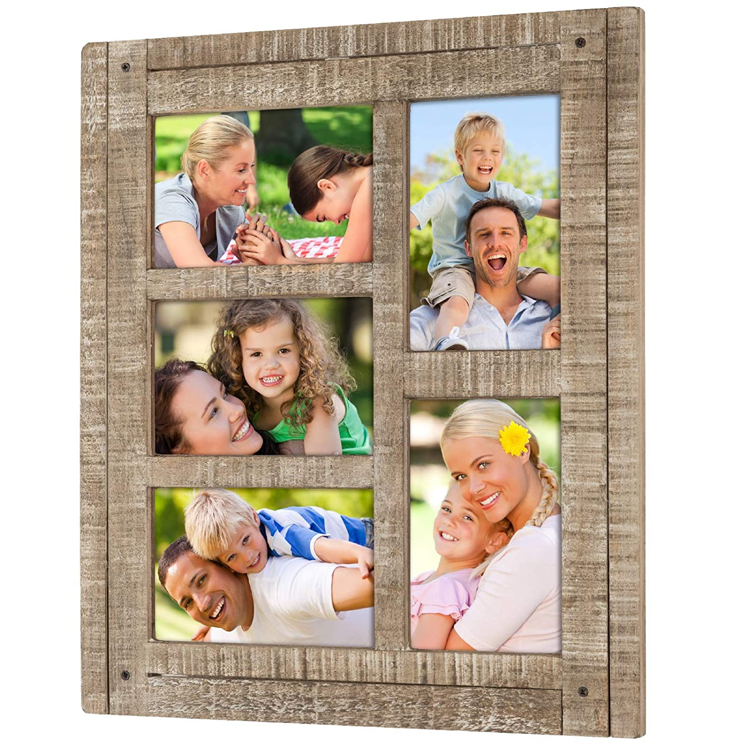 Collage Picture Frames from Rustic Distressed Wood: Holds Five 4x6 Photos: Ready to Hang or use Tabletop. Shabby Chic, Driftwood, Barnwood, Farmhouse, Reclaimed Wood Picture Frame Collage (Brown)
