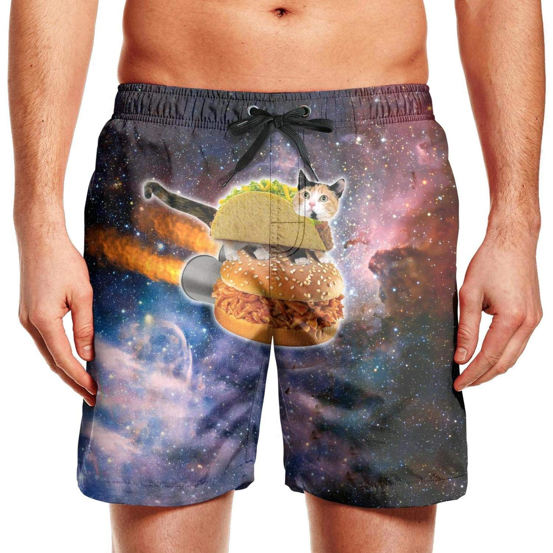 Men Swim Trunks Board Shorts Galaxy Burger Cat Quick Dry Drawstring Elastic Waist Beach Wear Shorts