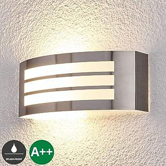 Design LAMPADA ESTERNO PORTA CASA ILLUMINAZIONE BALCONE ACCIAIO INOX e27 giardino lampada da parete