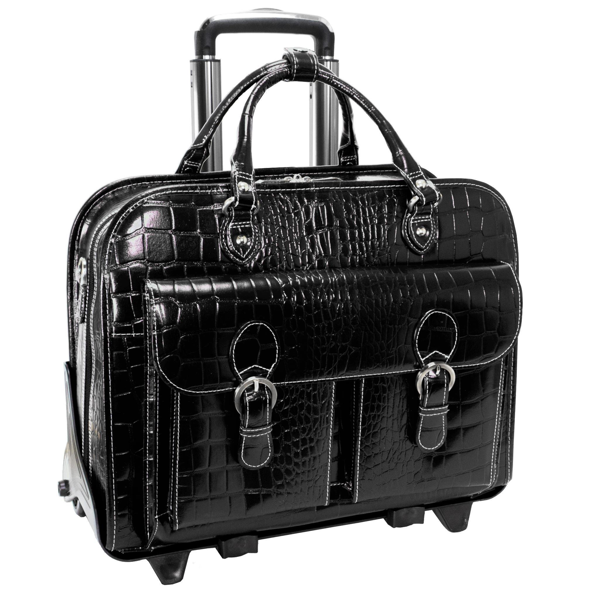 Siamod SAN MARTINO 35305 Black Leather Ladies' Detachable-Wheeled Laptop Case