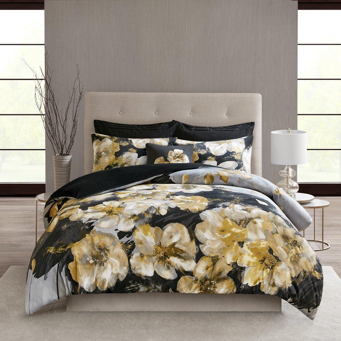 N Natori Casa Noir 3 Piece Cotton Duvet Cover Set Multi King