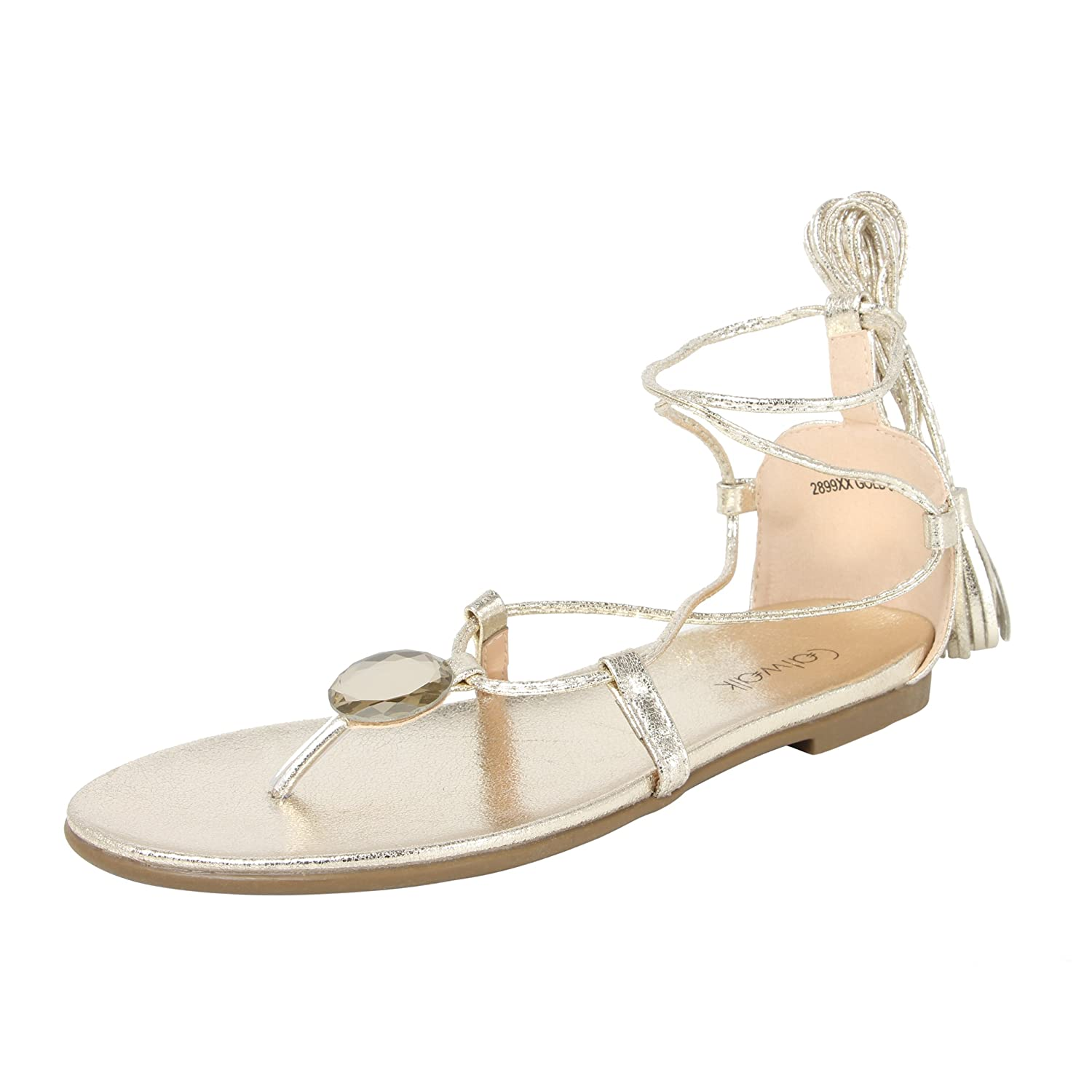 719d6d6dba1fa2 Catwalk Gold Ankle Wrap Sandals  Buy Online at Low Prices in India -  Amazon.in