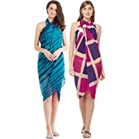 SOURBH Sarongs Combo for Women Beach Wear Wrap Printed Pareo Body Cover Up Dress - Set of 2 (S1_S513-Blue & Purple, Pink-Free Size)