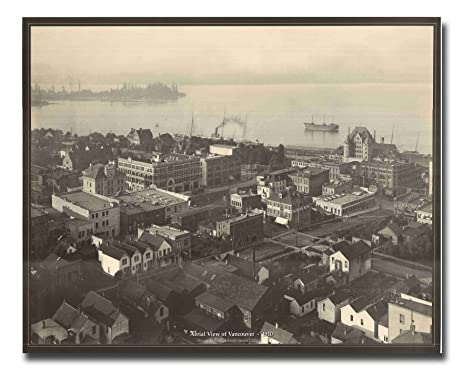 Aerial view of vancouver 1910 vintage old city black and white wall décor art print