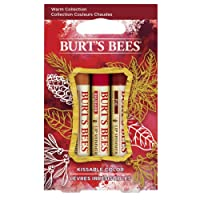 Burt's Bees Kissable Color Holiday Gift Set ($17.00 Value), 3 Lip Shimmers in Gift Box, Warm Collection in Peony, Fig and Rhubarb