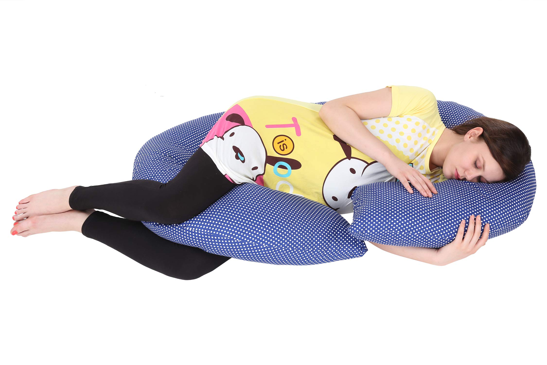 MomToBe C Shape Maternity Pillow With 100% Cotton Cover And Zippered Cover - Blue product image
