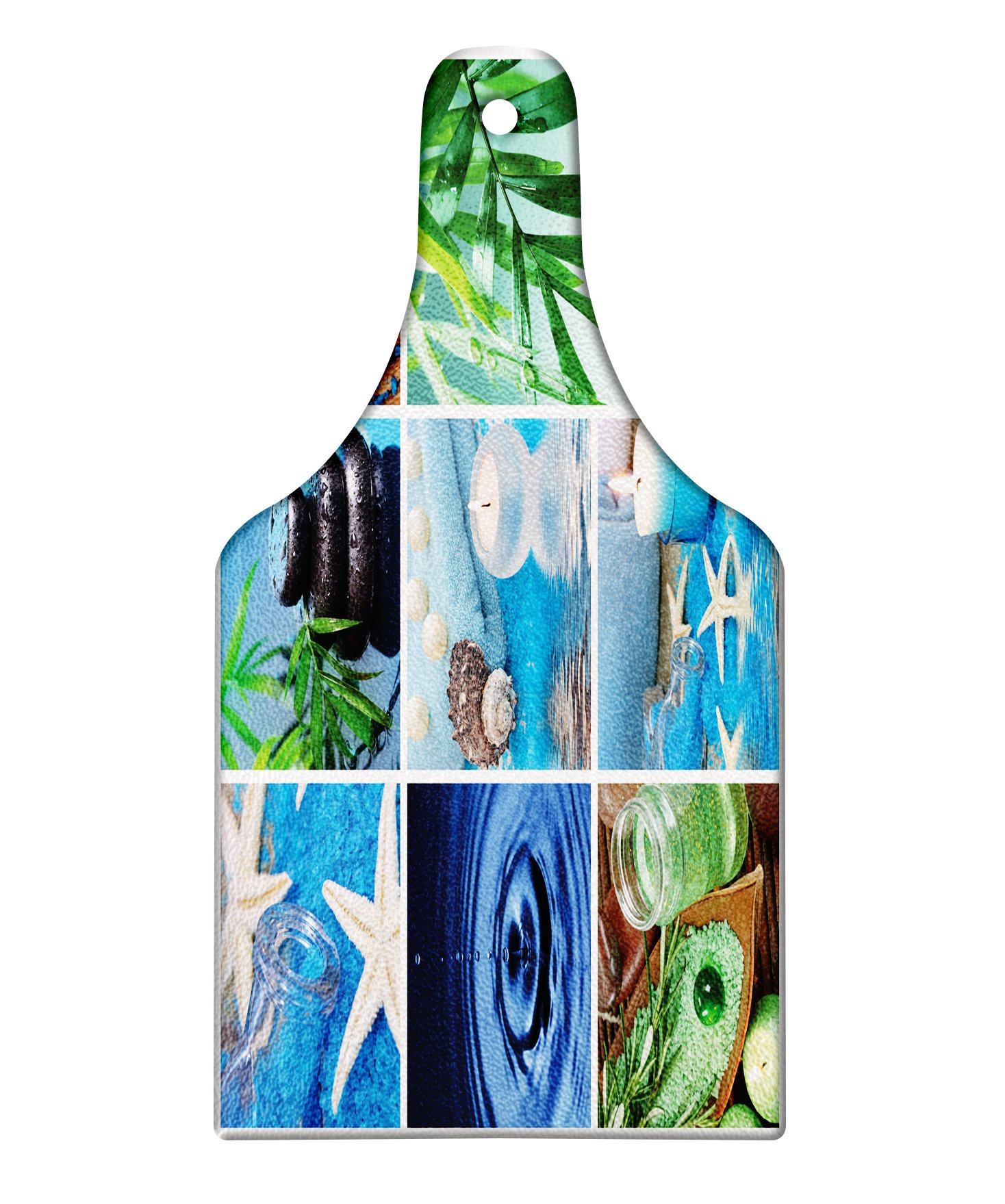 Lunarable Spa Cutting Board, Ocean Themed Collage with Starfish Stone Botanic Plants Aqua and Candles Image, Decorative Tempered Glass Cutting and Serving Board, Wine Bottle Shape, Blue and Green
