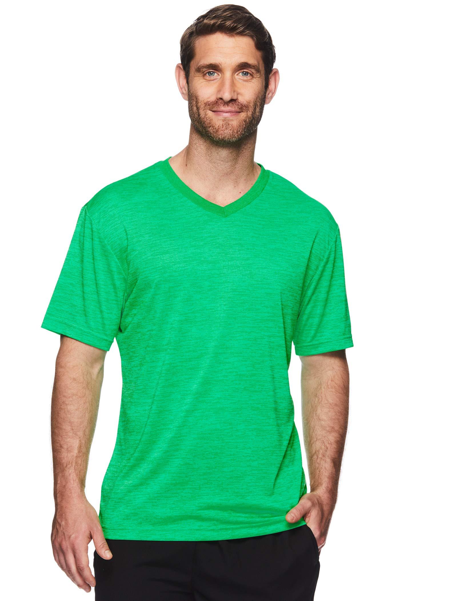 HEAD Men's V Neck Gym Training & Workout T-Shirt - Short Sleeve Activewear Top - Flash Andean Toucan Green Heather, Medium