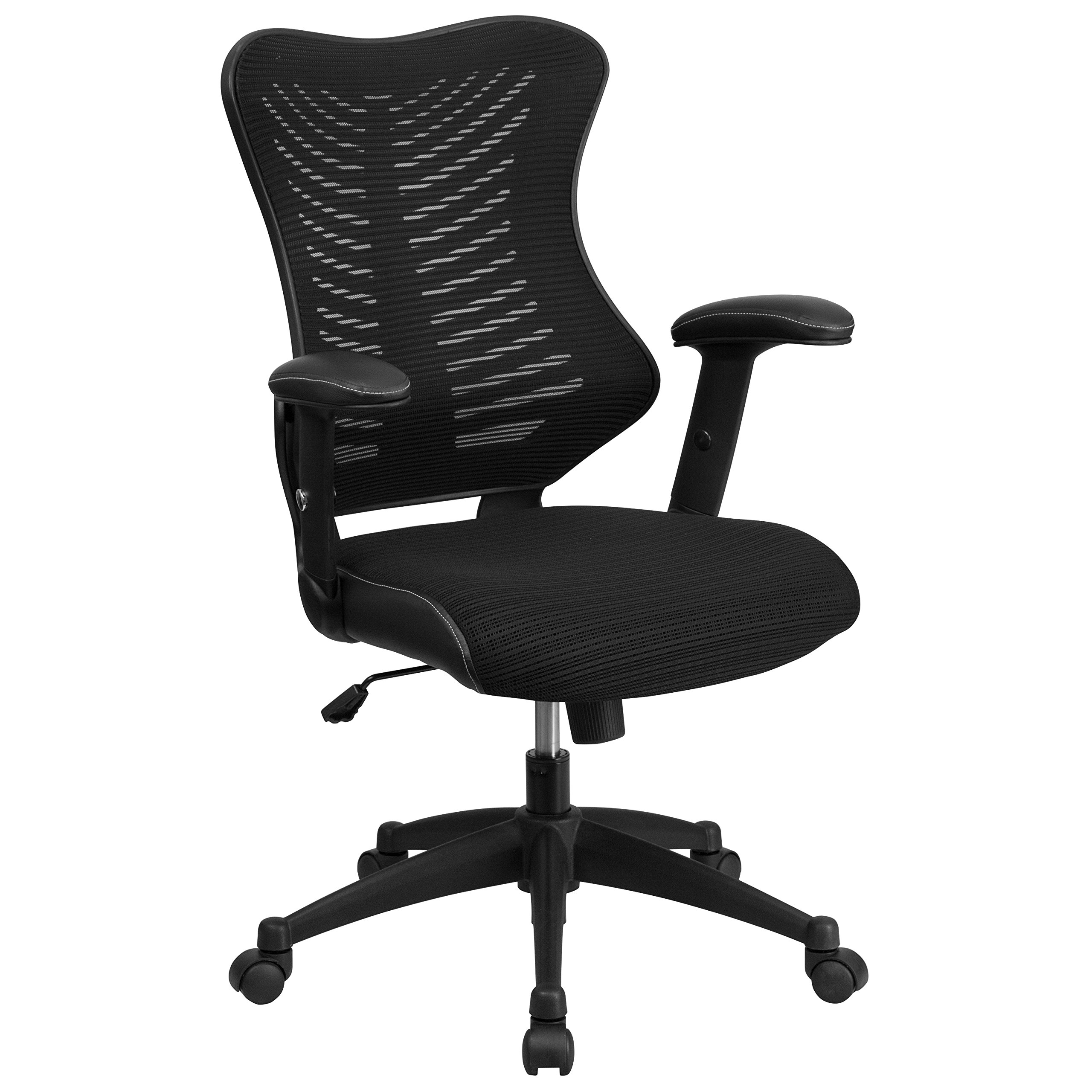 Flash Furniture High Back Designer Black Mesh Executive Swivel Chair with Adjustable Arms