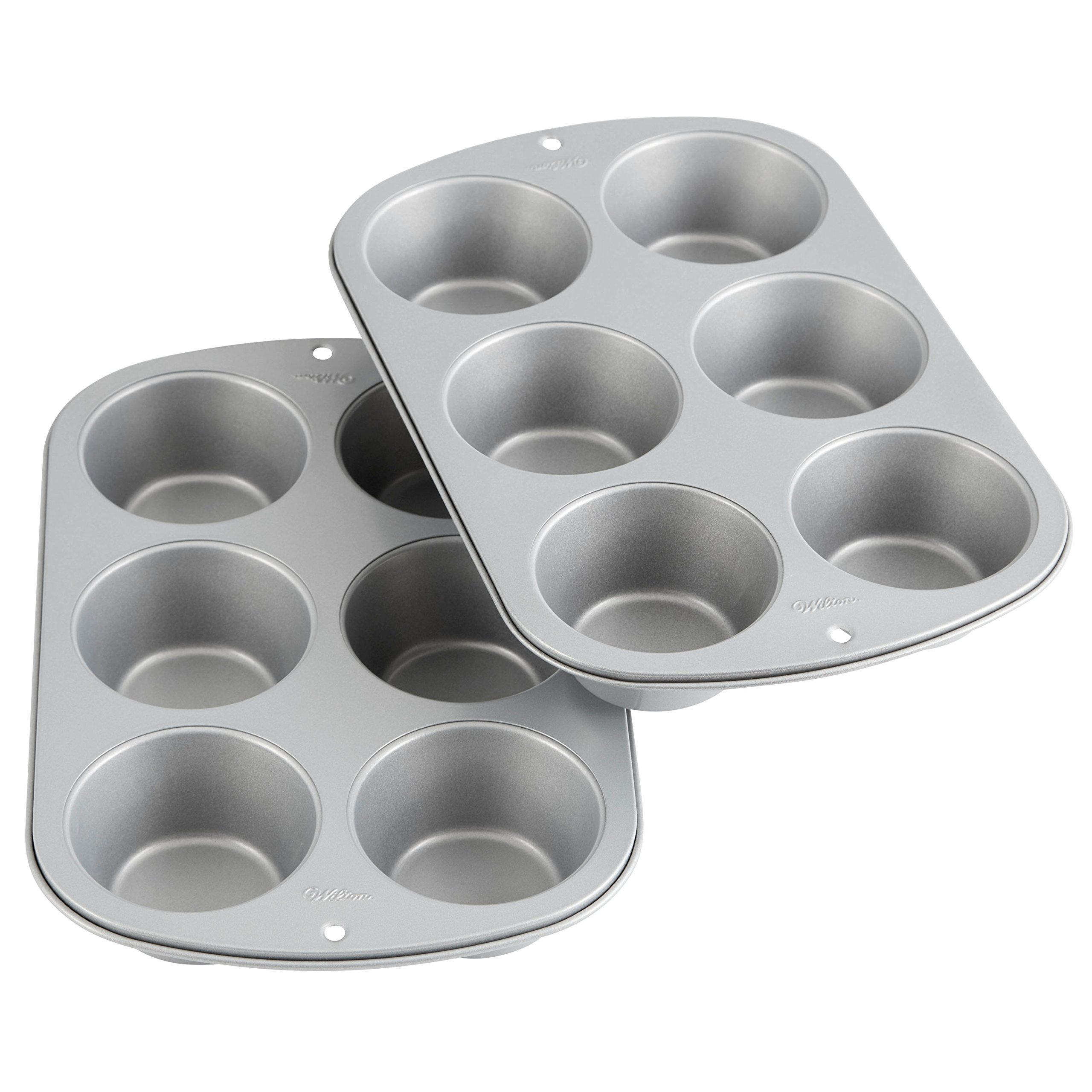 Wilton 2109-6825 Recipe Right Non-Stick 6 Muffin Pan, Multipack of 2 Baking, 6-Cup Jumbo (2-Pk.), Assorted