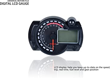 1 PC de Universal Motocicleta Digital Colorido LCD Veloc/ímetro Od/ómetro Tac/ómetro con sensor de velocidad. Veloc/ímetro de motocicleta