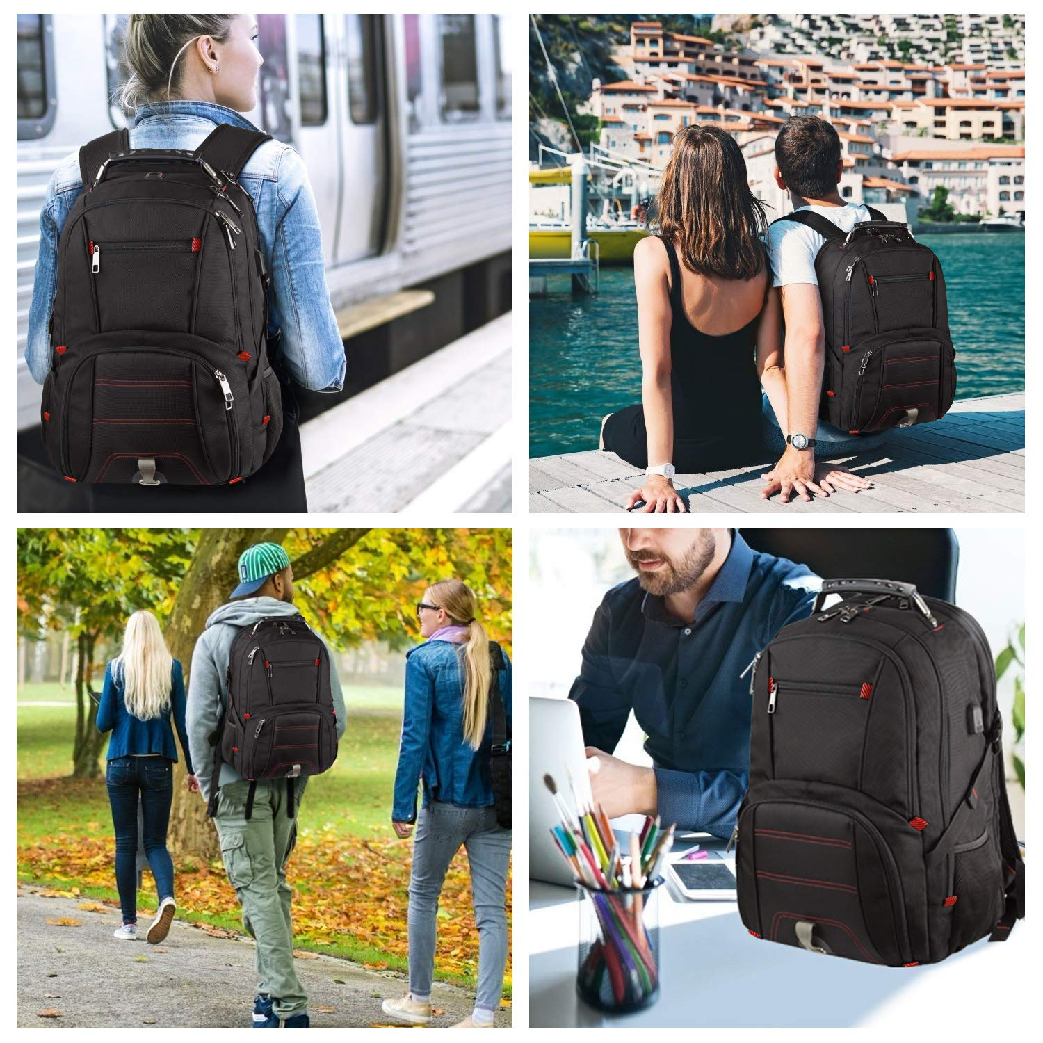 Extra Large Backpack,Travel Laptop Backpack TSA Friendly Durable Computer Backpack with USB Charging Port for Men&Women,Water-Resistant Big Business College School Bookbag Fits 17 Inch Laptop&Notebook by Tinvic (Image #7)