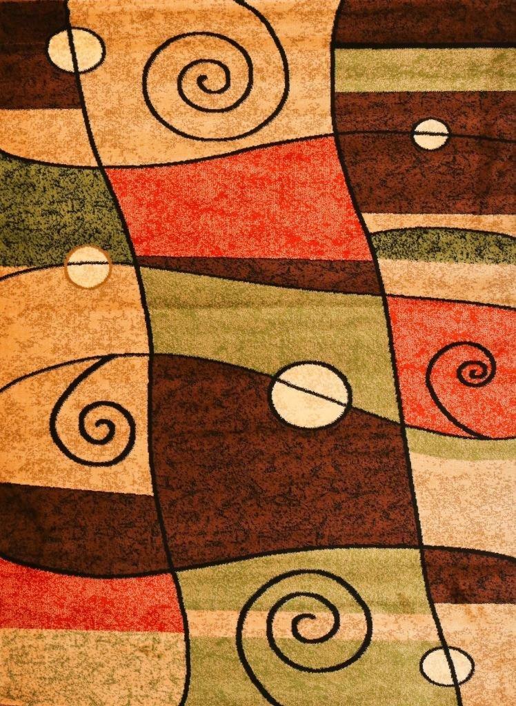 Amazon.com: 1056 orange Black 5x7 Area Rug Contemporary Modern Carpet New:  Kitchen & Dining