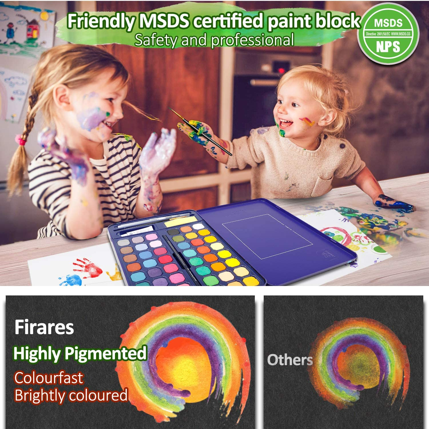 Children Firares Travel Highly Pigment 48 Vibrant Colors Watercolor Paint Set Drawing Pencil Painting Paper for Beginners Watercolor Brush Hobbyists and Students