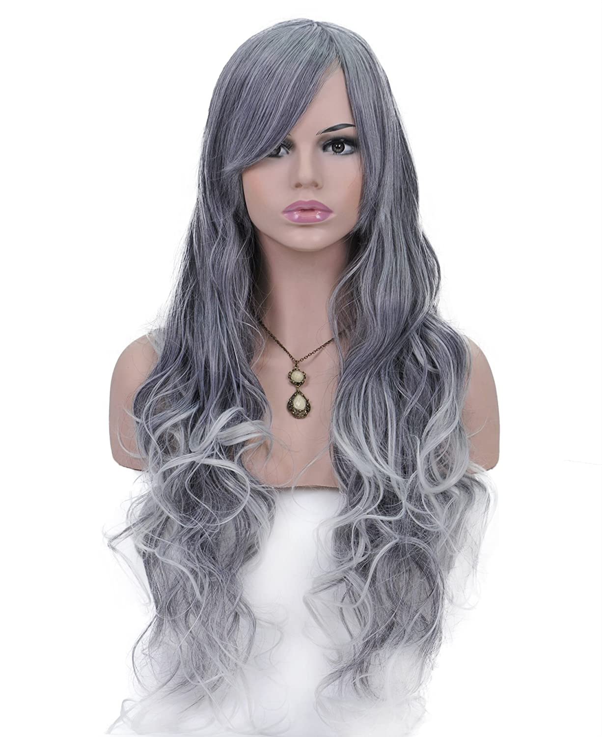 Spretty Hermoso largo rizado Harajuku estilo pelucas con oblicua Bangs para Cosplay Party (gris plata): Amazon.es: Belleza