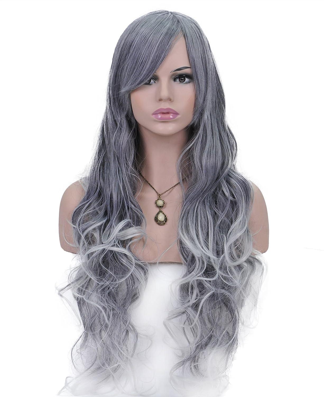 Spretty Hermoso largo rizado Harajuku estilo pelucas con oblicua Bangs para Cosplay Party (gris plata): Amazon.es: Belleza