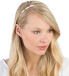 "SIX""Basic"" silberner Haar Reif, kopfschmuck mit Perlen, Strass & Rosen, Weiß, Rosa (315-465)"
