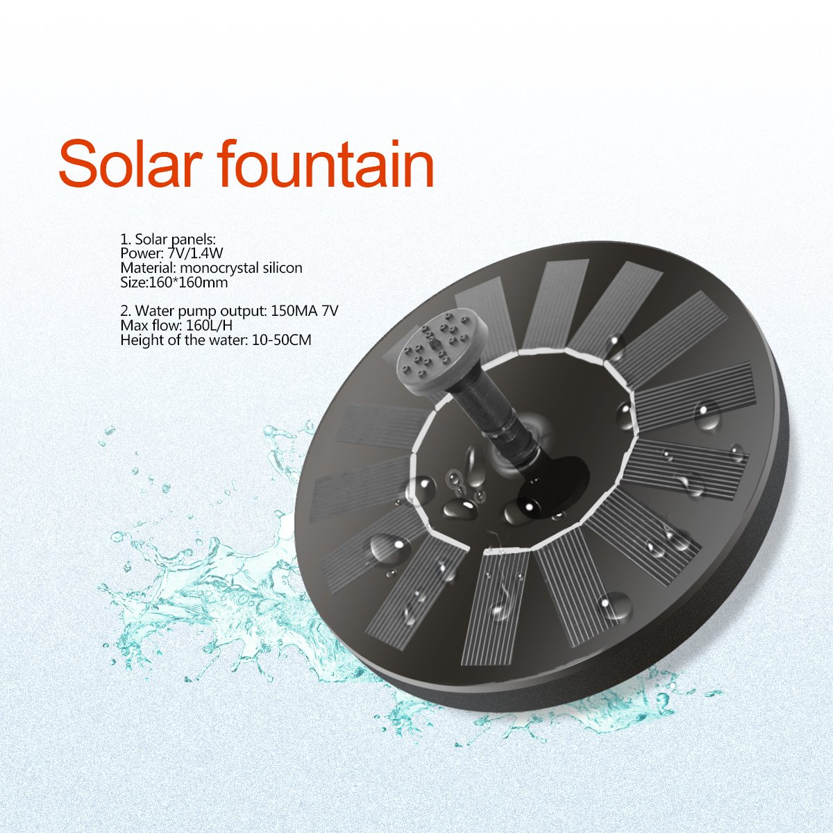 YmissL Solar Fountain, 2018 Upgraded Solar Powered Fountain Pump for Bird Bath, 1.4W Solar Panel Kit Water Pump,Outdoor Watering Submersible Pump for Pond, Pool, Garden, Fish Tank, Aquarium (Black3) by YmissL (Image #3)