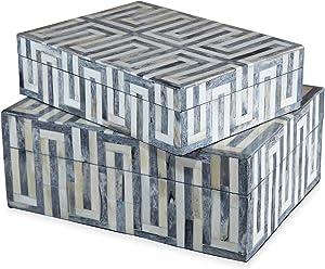 Kathy Kuo Home Aphrodite Global Bazaar Grey White Bone Boxes - Set of 2
