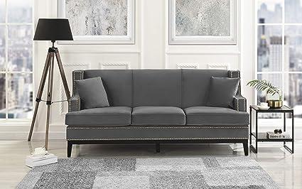 Casa Andrea Milano Classic Traditional Soft Velvet Sofa with Nailhead Trim  Details Color Grey, Blue (Grey)
