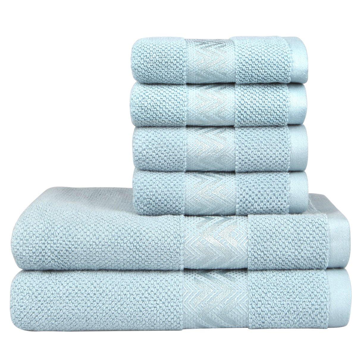 VAVE Luxury Cotton Soft Bath Towels Set Hand Towel Washcloths Quality Bathroom Towels SPA Hotel Home Travel Beach Sauna Spring Summer Autumn Winter Super Absorbent Kitchen Decorative (Light Blue)