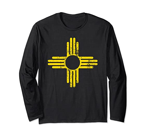 8872fa11e Amazon.com: New Mexico Flag Long Sleeve Shirt Distressed Zia Sun Alone:  Clothing