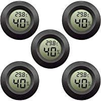 EEEkit Hygrometer Thermometer Digital LCD Monitor Indoor Outdoor Humidity Meter Gauge for Humidifiers Dehumidifiers Greenhouse Basement Babyroom, Black Round (5-pack)