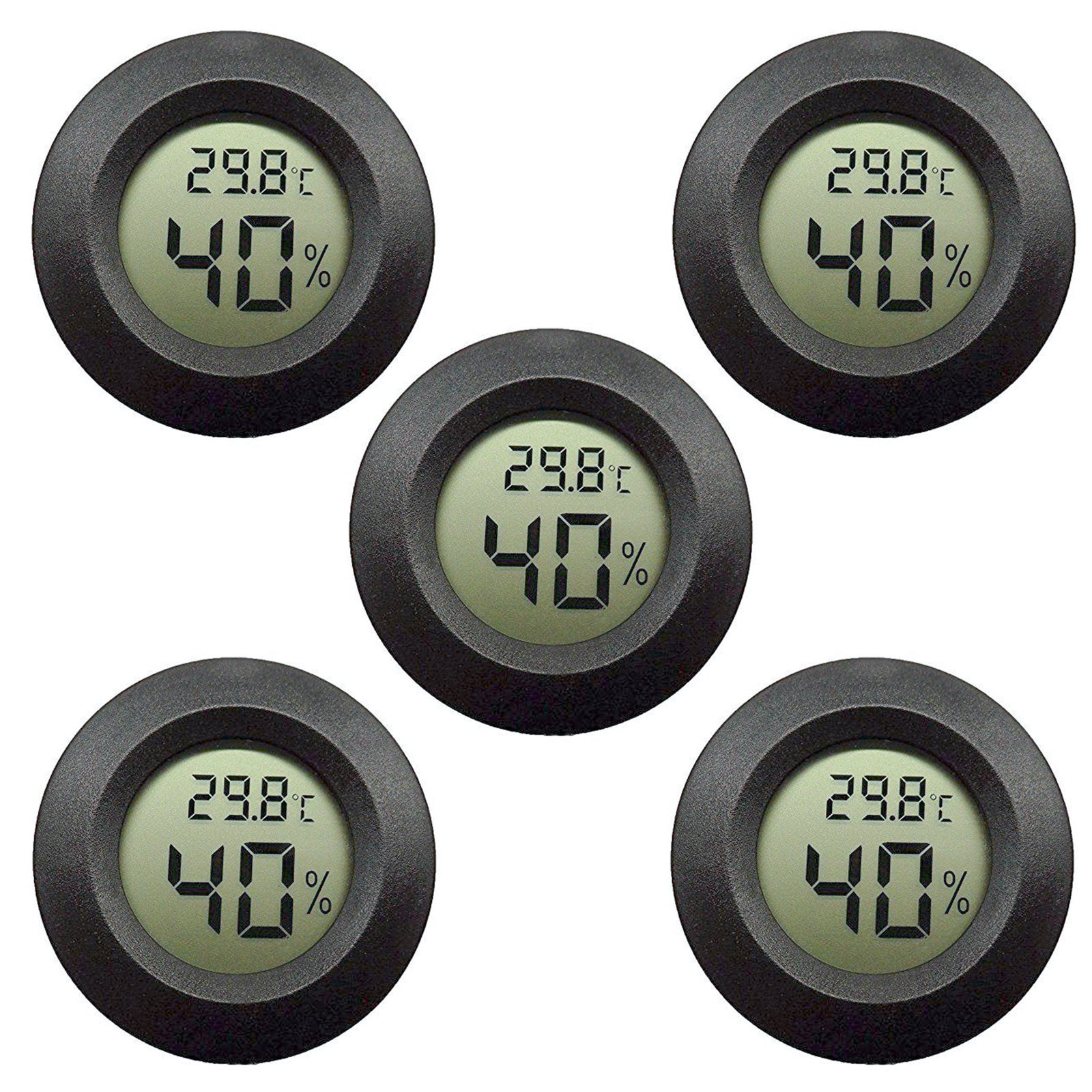 5-pack EEEkit Hygrometer Thermometer Digital LCD Monitor Indoor Outdoor Humidity Meter Gauge for Humidifiers Dehumidifiers Greenhouse Basement Babyroom, Black Round
