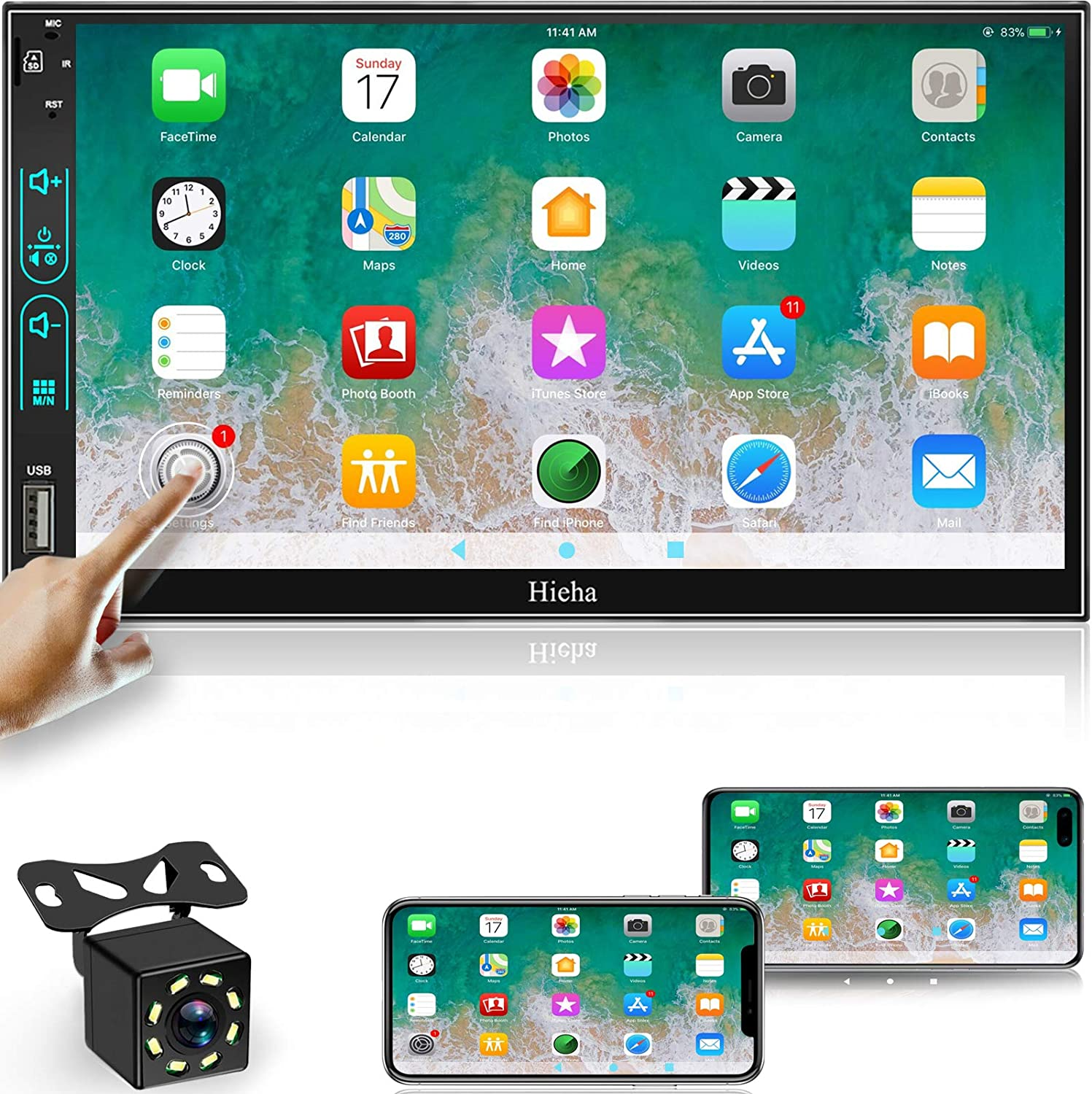 Double Din Car Stereo Touch Screen 7 Inch Car Audio Receiver, FM Radio Bluetooth Video Car Entertainment Multimedia Support Phone Mirror Link/USB/SD/AUX, Hands Free Calling MP5 Player with Camera
