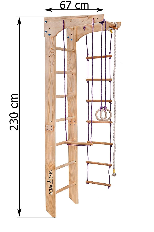 Complejo Deportivo para Gimnasia Escalera Sueca de Pared para ni/ños de 1 a 230 Grados Gimnasio en casa RINAGYM
