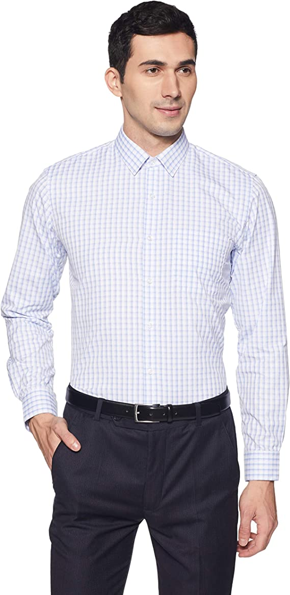 Peter England Men's Plain Slim Fit Formal Shirt Men's Formal Shirts at amazon