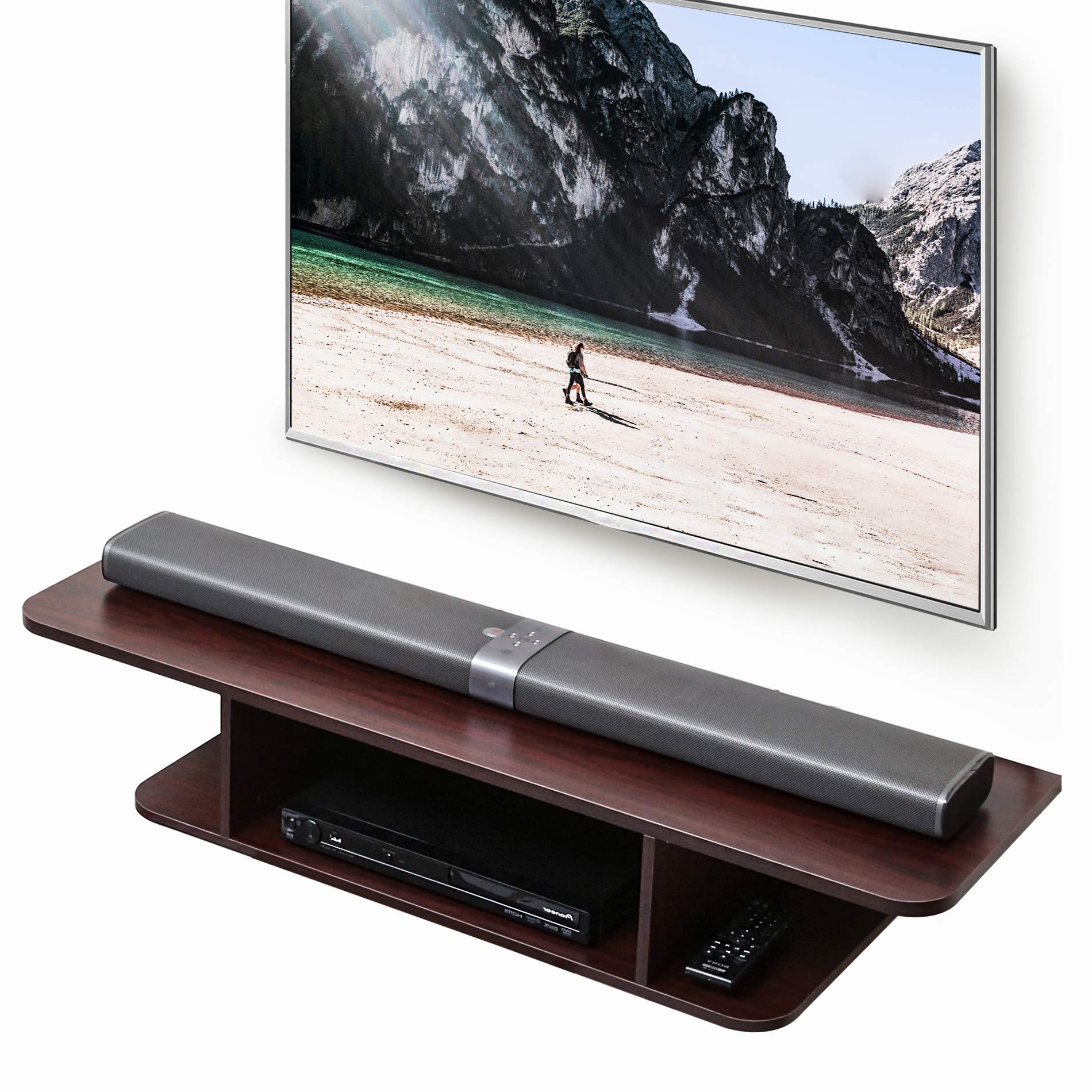 FITUEYES Wall Mounted Media Console,Floating TV Stand Component Shelf,Brown ,DS210502WW