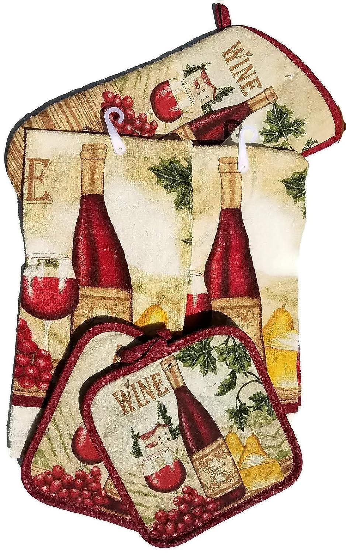 HomeConcept 5 Piece Kitchen Towel Set Includes 2 Towels 2 Potholders 1 Oven Mitt (Wine)