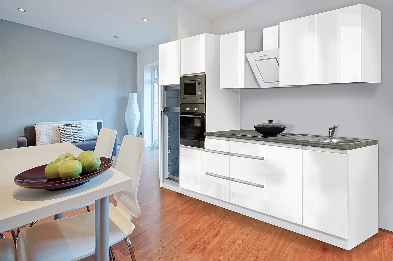 respekta Premium grifflose Küchenzeile Küche 335 cm weiss Hochglanz Kühlkombi