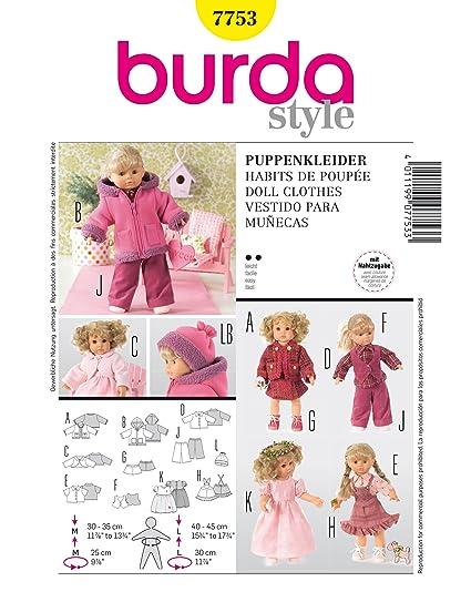 Burda Patrón Creativa 7753 Ropa de muñeca
