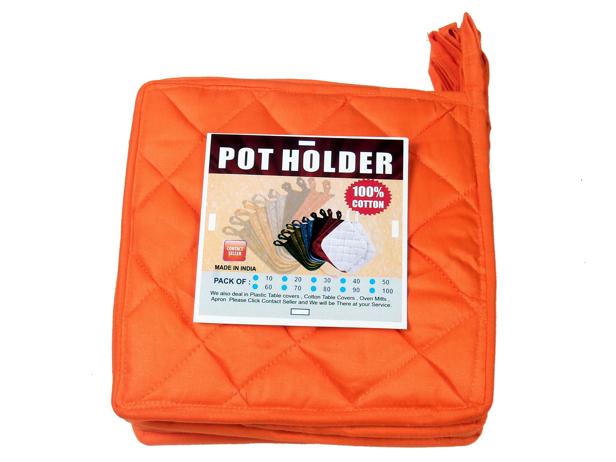 HM Covers Pot Holders 100% Cotton (Pack of 10) Pot Holder 8'' x 8'' Square, Solid Orange Color Everyday Quality Kitchen Cooking, Heat Resistance!! by HM Covers