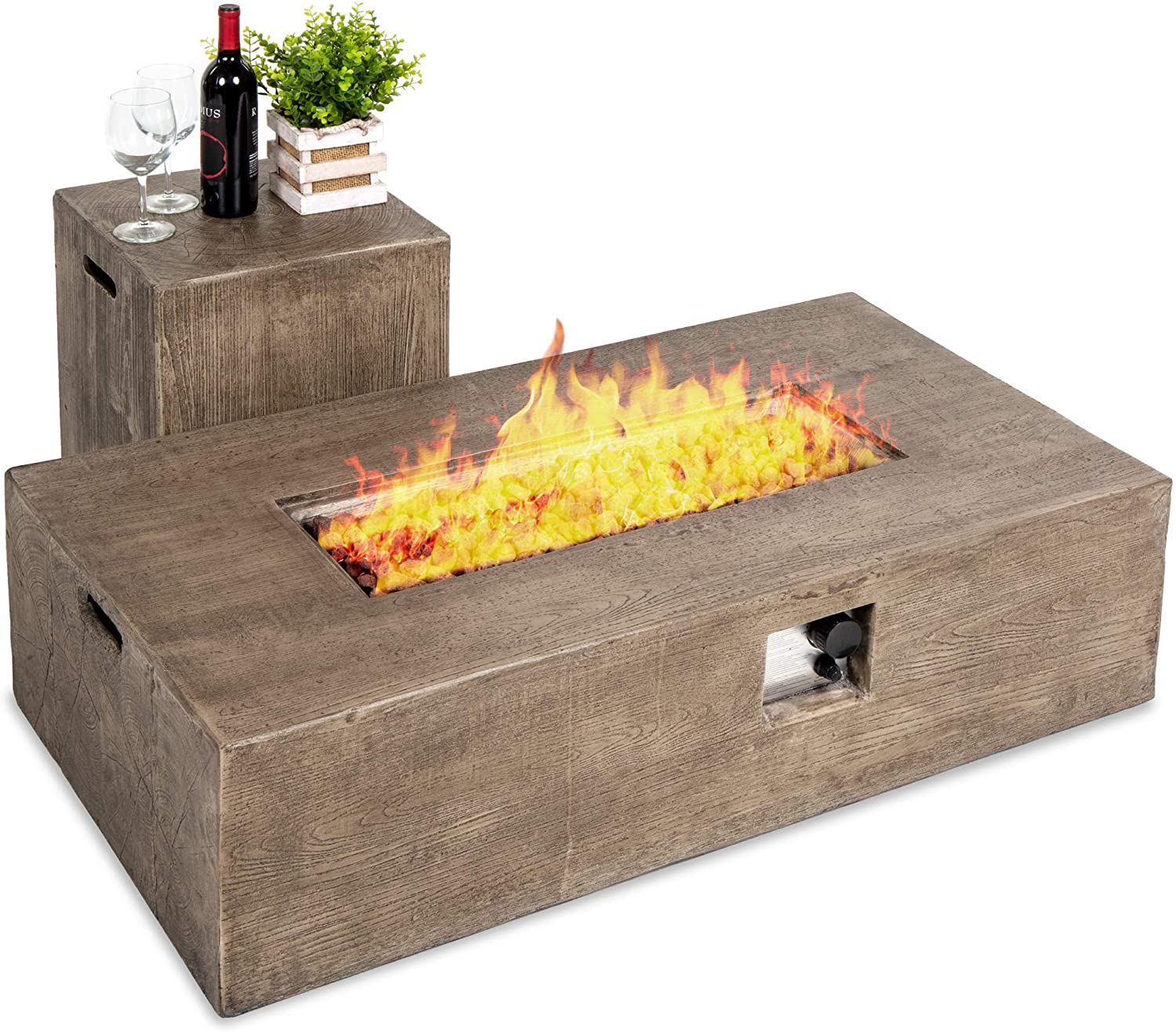 Amazon Com Best Choice Products 48x27 Inch 50 000 Btu Outdoor Patio Rustic Farmhouse Wood Finish Propane Fire Pit Table And Gas Tank Storage Side Table W Weather Resistant Pit Cover Glass Rocks Brown Garden