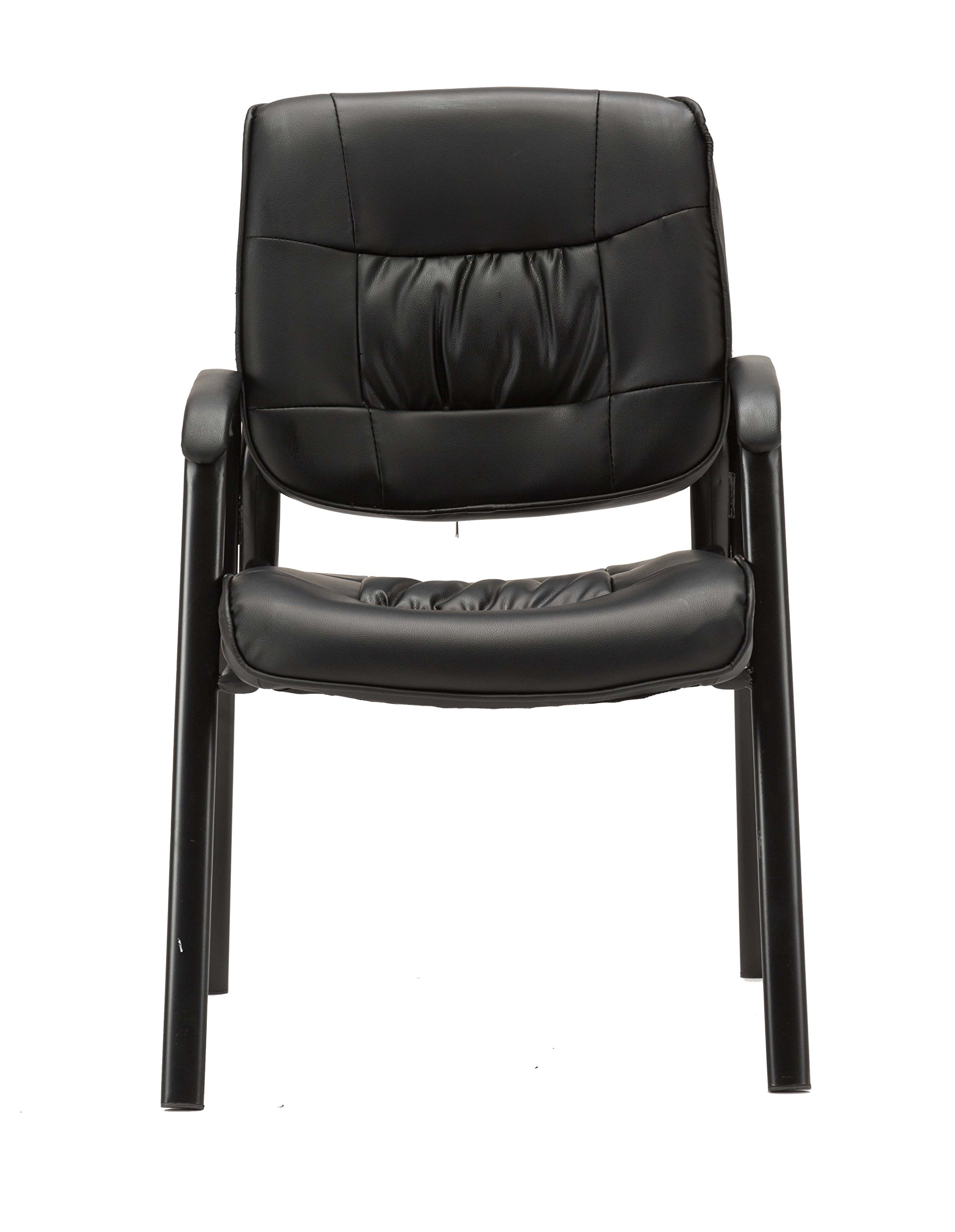 BTEXPERT Premium Leather Office Executive Chair Waiting Room Guest/Reception Side Conference Chair Black