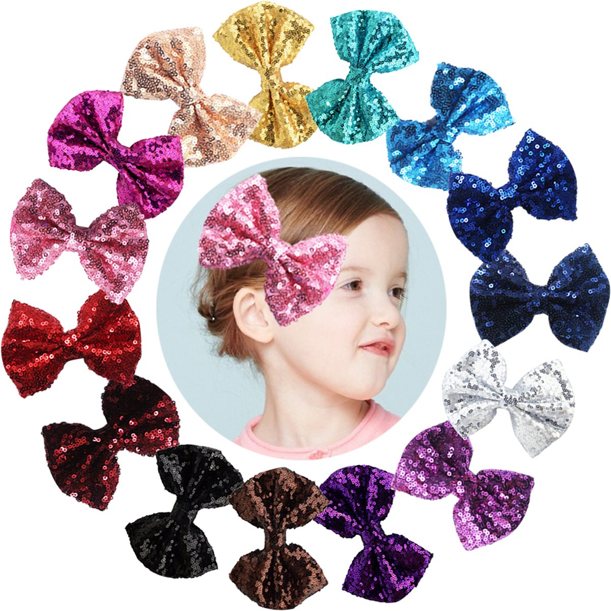 CELLOT Party Hair Bows Clips for Girls-15pcs Bling Sparkly Glitter Sequins Big 4' Hair Bows Alligator Hair Clips-Nylon Mesh Ribbon Bowknot Hairpins for Baby Girls Kids Children