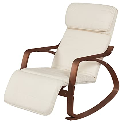 Attractive Best Choice Products Cushioned Birch Bentwood Rocking Chair W/Adjustable  Leg Rest (White/